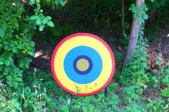 One of 80+ painted discs that make up Dots and Dashes by Johnny Lapham.